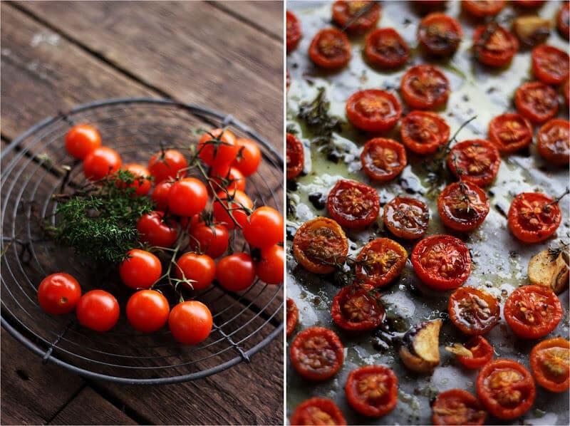 Semidried tomater med hvidløg, balsamico og timian