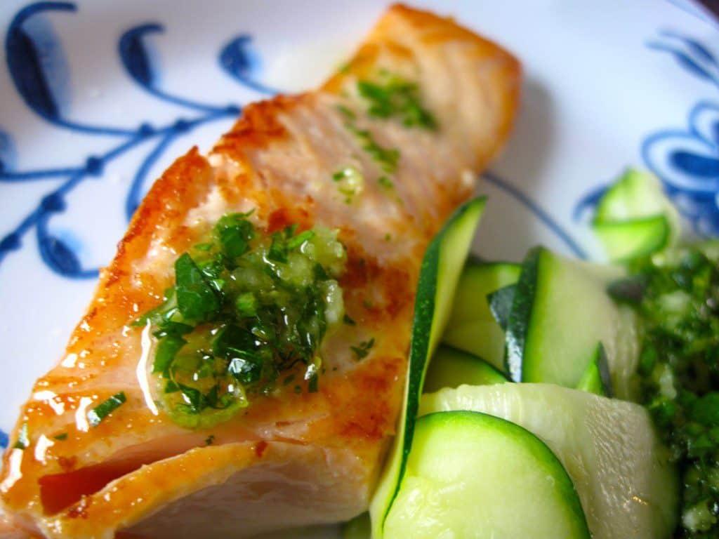 laks, opskrift, squashpasta, sundt, sund, lækker, hvad skal vi spise i aften