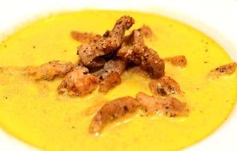 gulerodssuppe, skinkestrimler, opskrift, lækkert, dagens middag