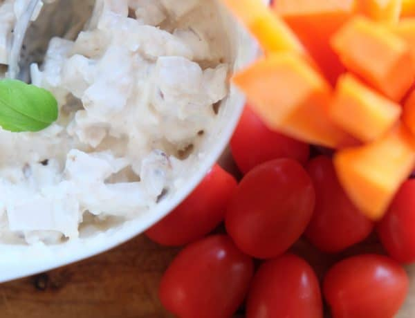 sund kyllingesalat, opskrift, sundt, nemt, frokost
