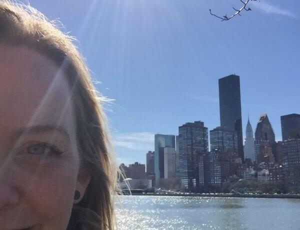 New York, Rosevelt Island, Selfie, blå himmel, blue sky,